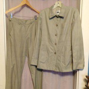 Vintage DKNY Plaid Cotton Lightweight Pant Suit